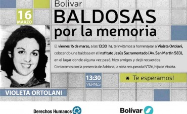 Se colocará una baldosa por la memoria de Violeta Ortolani