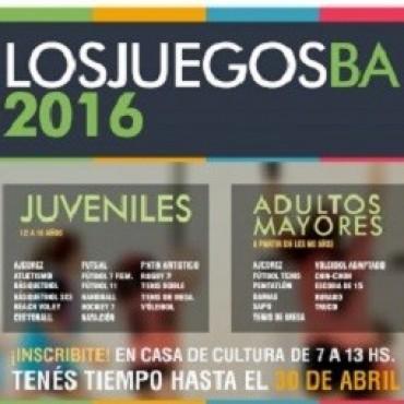 Dirección de Cultura: Se encuentra abierta la inscripción para los Juegos BA 2016