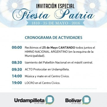 El Acto del 25 de Mayo será en Urdampilleta