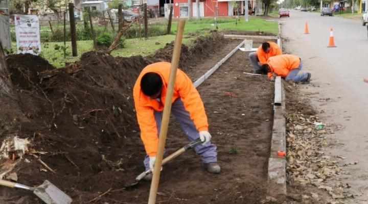 Avanza la obra del parque lineal en Barrio Colombo