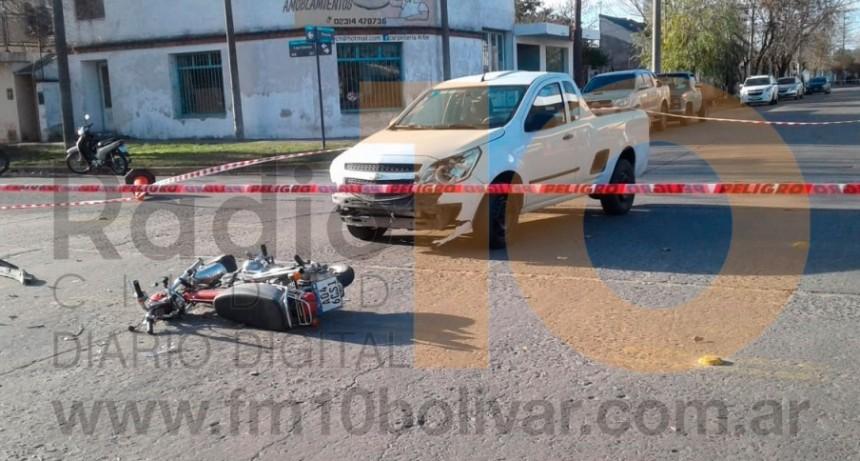 Accidente Viamonte y 3 de febrero: Un motociclista fue hospitalizado
