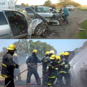 Esta mañana: Incendio en un galpón en  Bº Villa Diamante, y ayer un grave accidente con extricación de un conductor