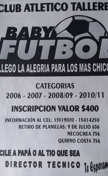 Abrió la inscripción para el Torneo de Baby Fútbol en el Club Talleres