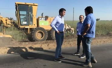Pisano recorrió la repavimentación de la Ruta 65 junto al diputado Mosca