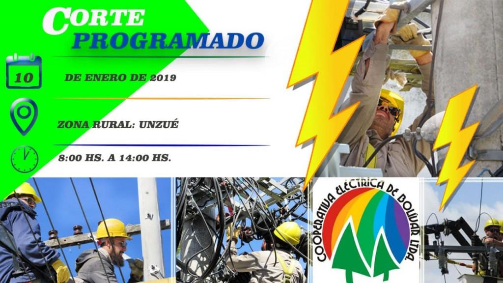 Corte de energía programado para el jueves 10 zona Unzué