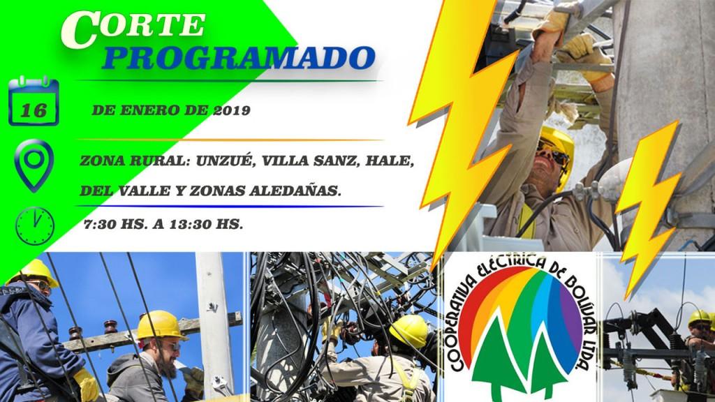 Corte de energía programado para la zona de Unzué, Villa Sanz, Hale, Del Valle y zonas aledañas