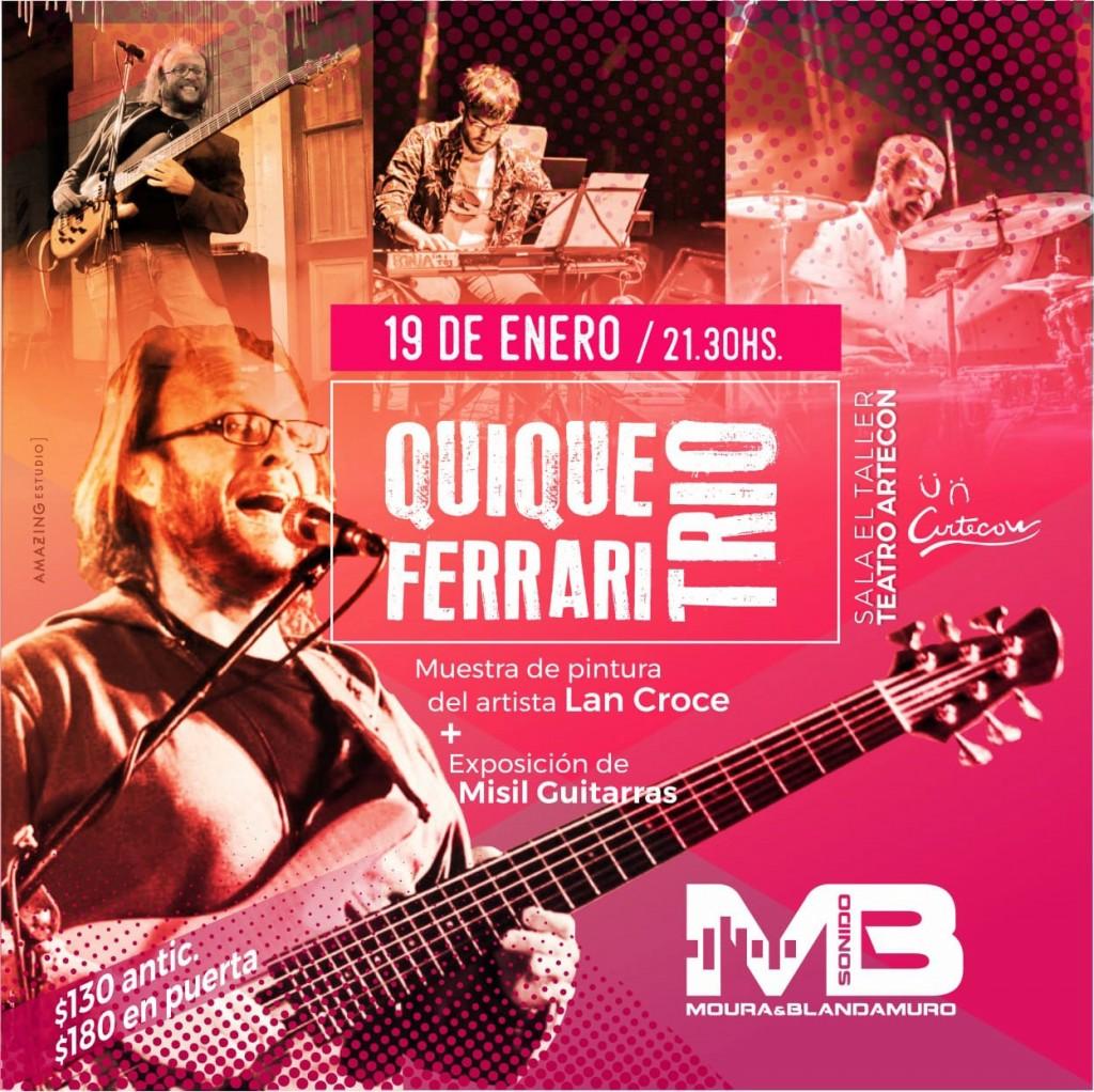 Quique Ferrari se presentará el próximo sábado 19 en Sala El Taller de Teatro Artecon