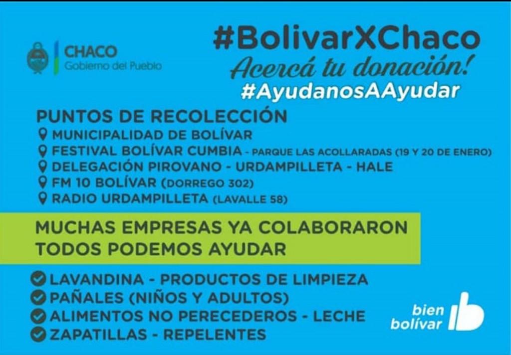 Ya está en marcha la campaña solidaria #BolívarxChaco