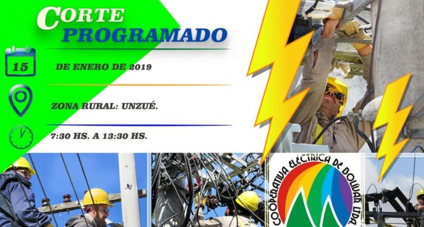 Corte de energía programado para el próximo martes 15 en Unzué