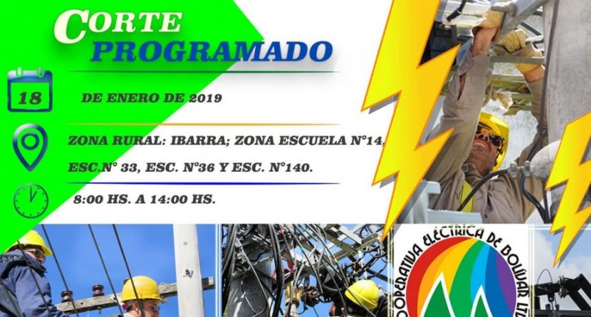 Corte de energía programado para el próximo viernes 18 en zona rural