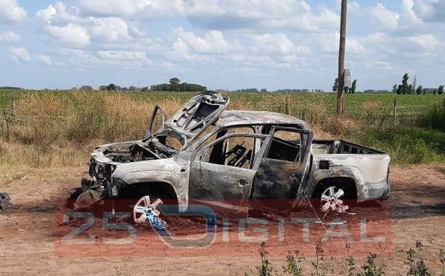 Apareció incendiada en zona rural de Saladillo la camioneta que le fue robada al dirigente de APRESID