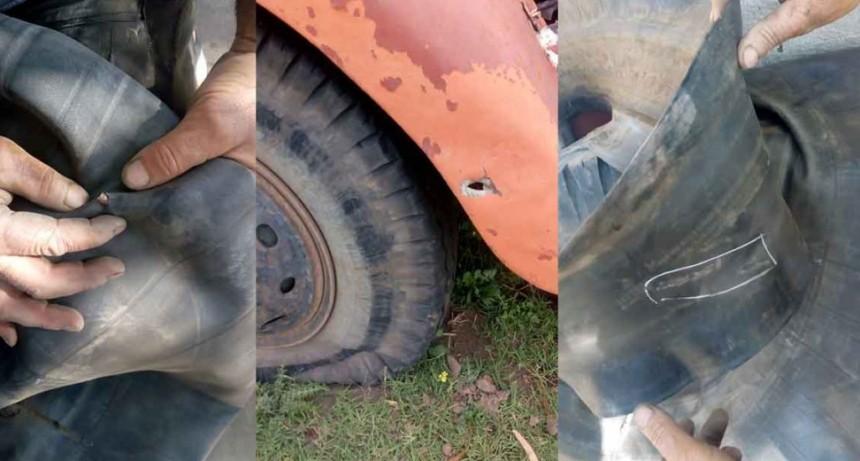 Laguna San Luis: Tirotearon un camión de materiales