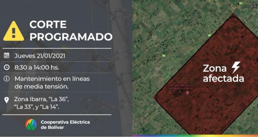 """Corte de energía programado: Será el Jueves 21 de enero de 08:30 a 14:00 hs en la Zona de Ibarra, """"La 36"""", """"La 33"""", y """"La 14"""""""