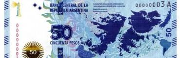 Ponen en circulación billetes de 50 pesos con imágenes de las Islas Malvinas
