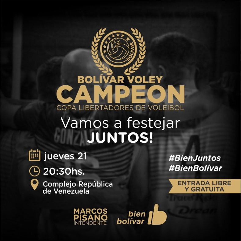 El próximo jueves 20 festejamos junto al Bolívar Vóley Campeón