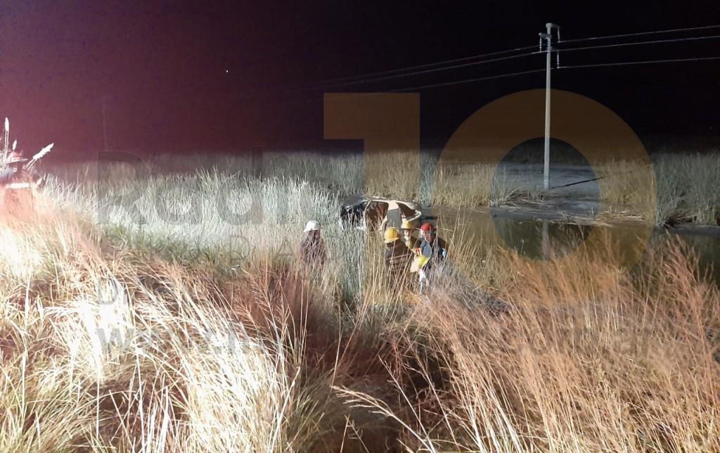 Un animal de gran porte provocó un despiste y vuelco en Ruta 65 km 290
