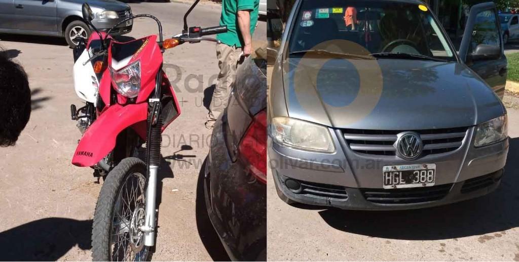 Se produjo un leve impacto entre un automóvil y una motocicleta en Avenida Lavalle