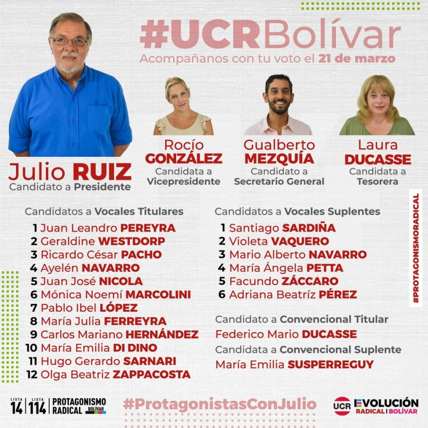 Elección interna: UCR Presentación de candidatos Evolución Radical Bolívar