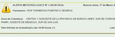 SMN: Alerta meteorológica para el centro de la Provincia de Buenos Aires