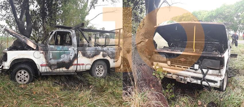 Ruta 65: Incendio de una camioneta, cerca del paraje 'Los Cuatro Vientos'
