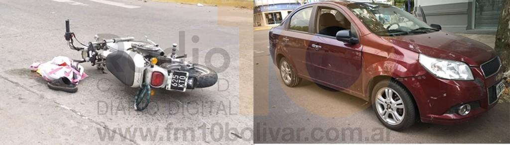 La esquina de Avenida San Martín y Dorrego nuevamente escenario de un impacto entre un automóvil y una motocicleta