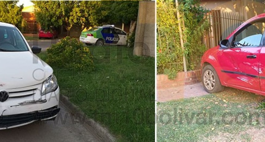 Impacto en Viamonte y Sáenz Peña; un automóvil termino sobre la vereda