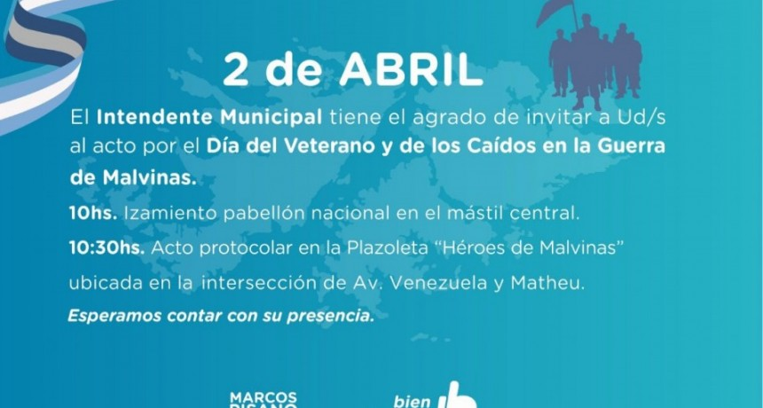 Se realizará el acto por el Día del Veterano y de los Caídos en la Guerra de Malvinas