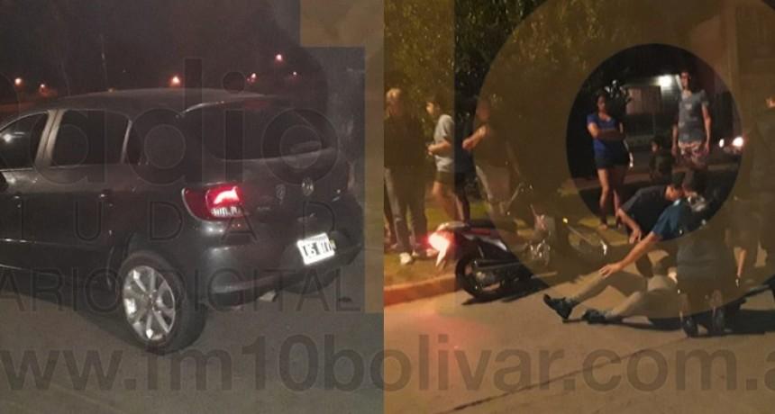Una mujer hospitalizada fue el saldo de un impacto entre un auto y una motocicleta