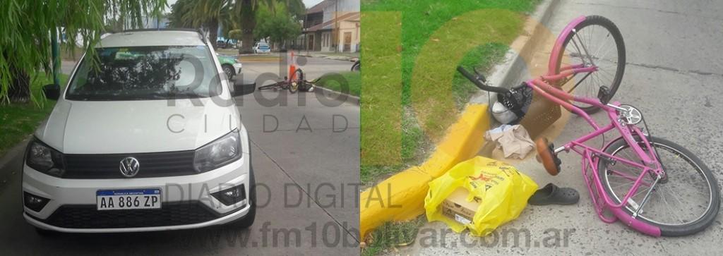 Una camioneta y una bicicleta se encontraron en tiempo y espacio en Av. Venezuela