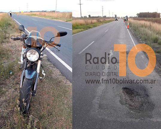 Ruta 65: Un motociclista resultó con lesiones leves tras impactar  con un profundo bache