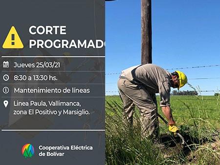 Este jueves se hará un corte de energía programado que afectará la Linea Paula, Vallimanca, El Positivo y Marsiglio