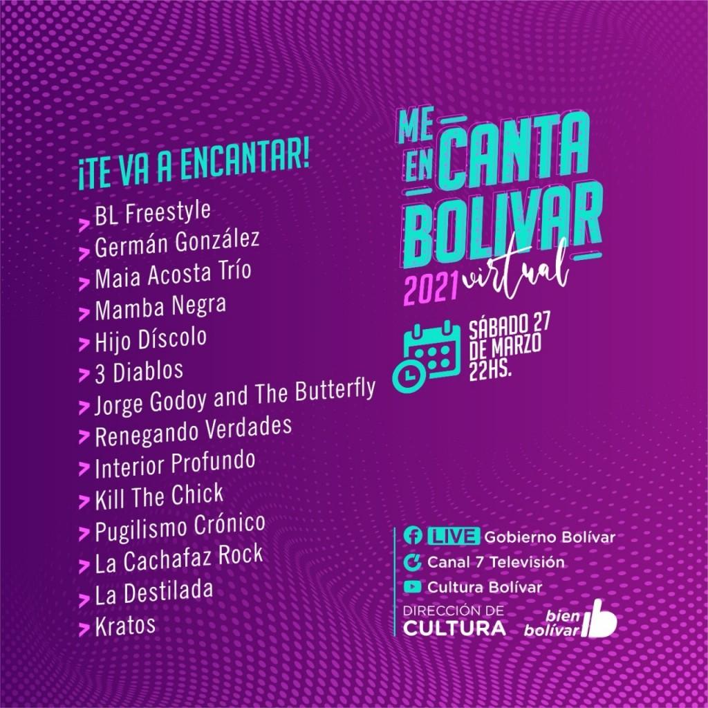 Este sábado a las 22 hs: Se viene la cuarta y última noche del Festival Me Encanta Bolívar Virtual