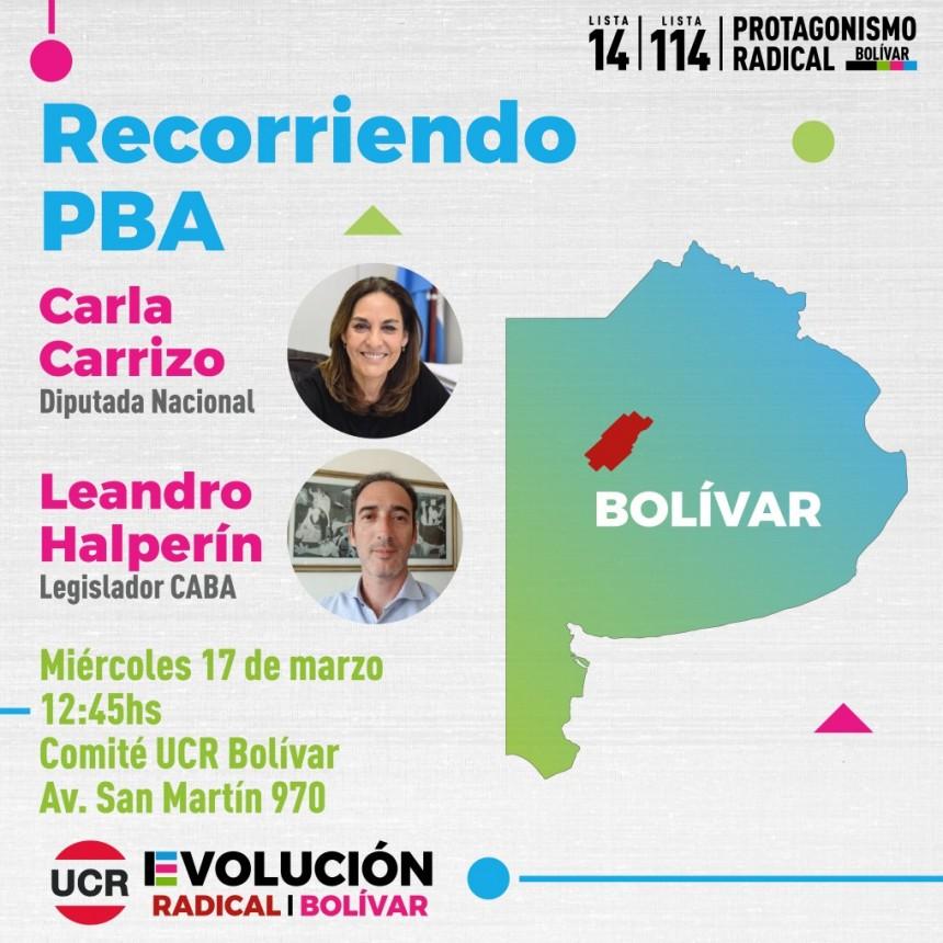 En el marco de la campaña para la interna de la UCR de la Provincia de Buenos Aires: Visitarán Bolívar los legisladores UCR - Evolución Carla Carrizo y Leandro Halperín