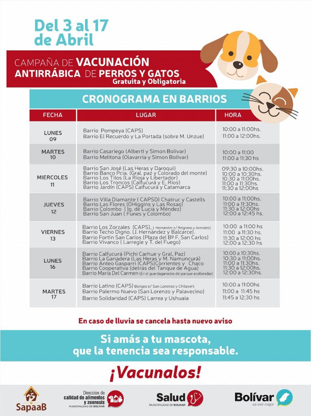 Cronograma de vacunación antirrábica en barrios