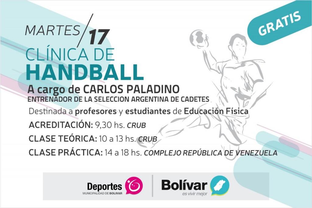 Se brindará una clínica de handball a cargo de Carlos Paladino