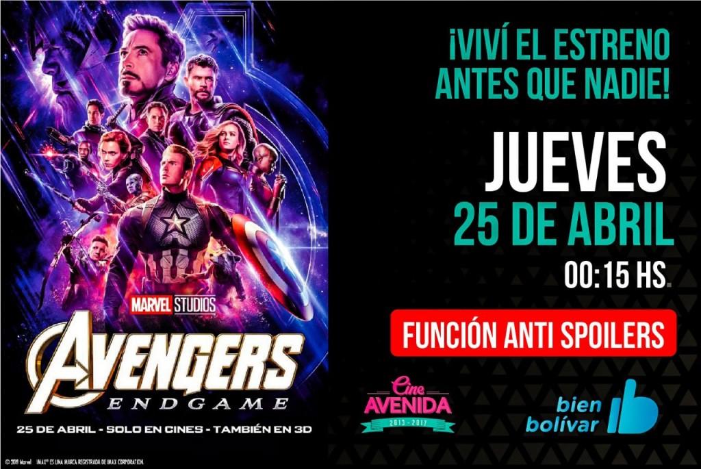 "El Cine Avenida presenta ""Avengers: Endgame"" en estreno simultáneo"