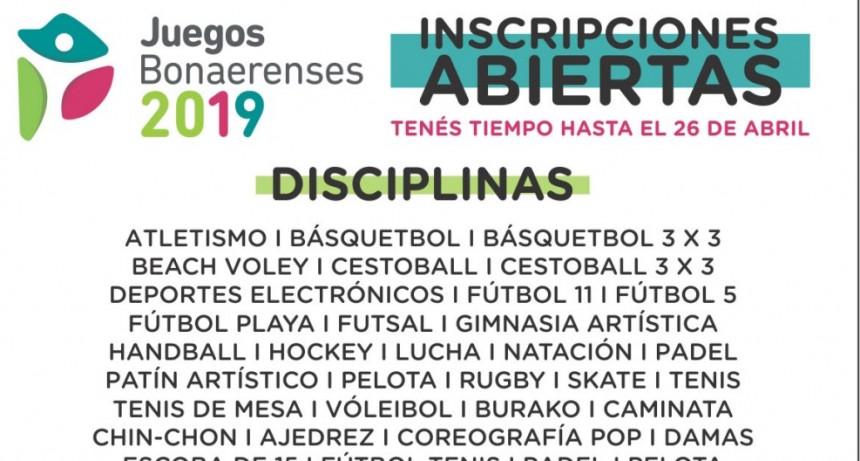 Está abierta la inscripción a los Juegos Bonaerenses 2019