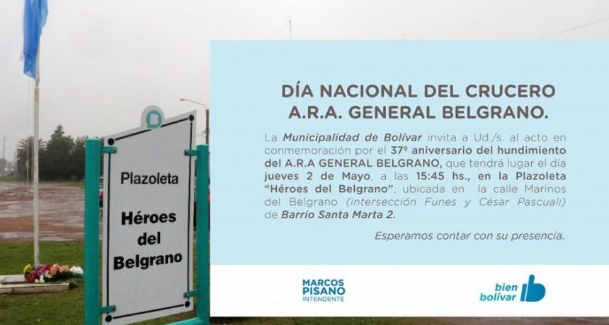 Se realizará el acto por el aniversario del hundimiento del A.R.A General Belgrano