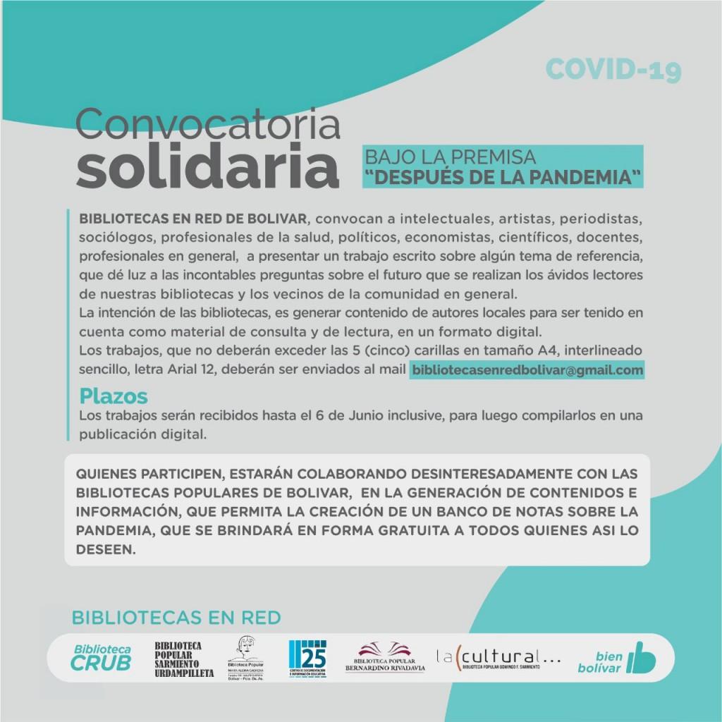 Convocatoria Solidaria; 'Después de la Pandemia': La propuesta de Bibliotecas en Red