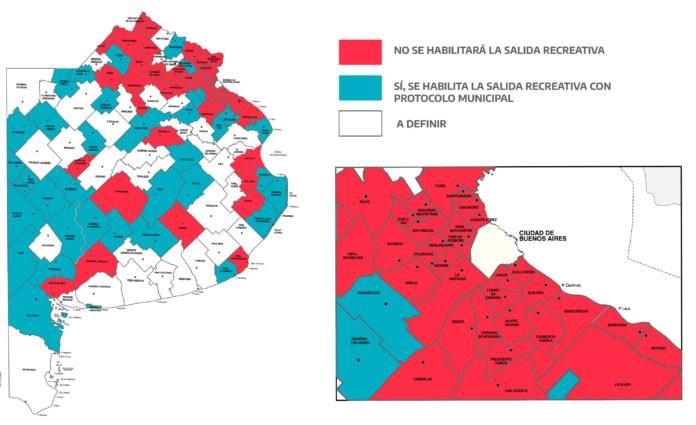 Mapa: en qué municipios se pueden realizar salidas de esparcimiento y en cuáles no
