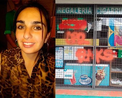 Amaneció con pintadas en su local, kiosco La Floreana