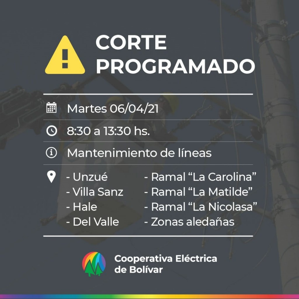 Corte de energía programado: Será el martes 06/4 de 08:30 a 13:30 hs en Zona Rural