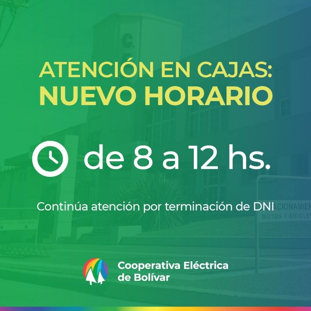Nuevos horarios de la Cooperativa Eléctrica de Bolívar