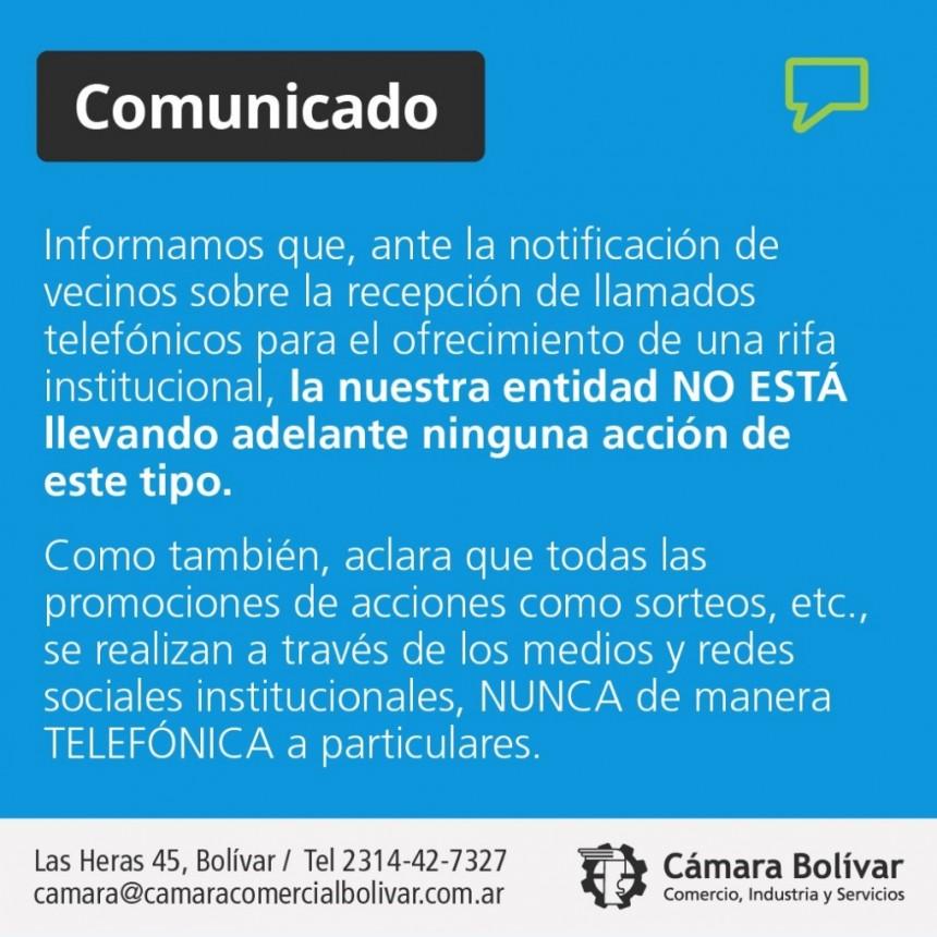 Comunicado Oficial de la Cámara Comercial ante la notificación de vecinos sobre una supuesta rifa institucional
