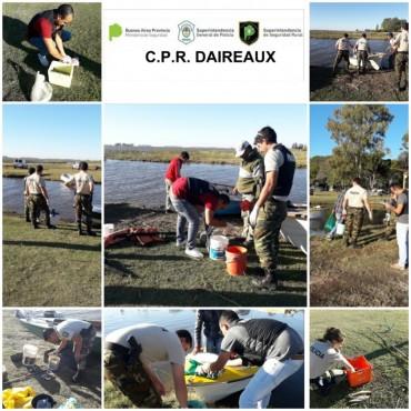 EN LA LAGUNA LA GLORIETA: Infracción ley de pesca, actuaciones del C.P.R de Daireaux