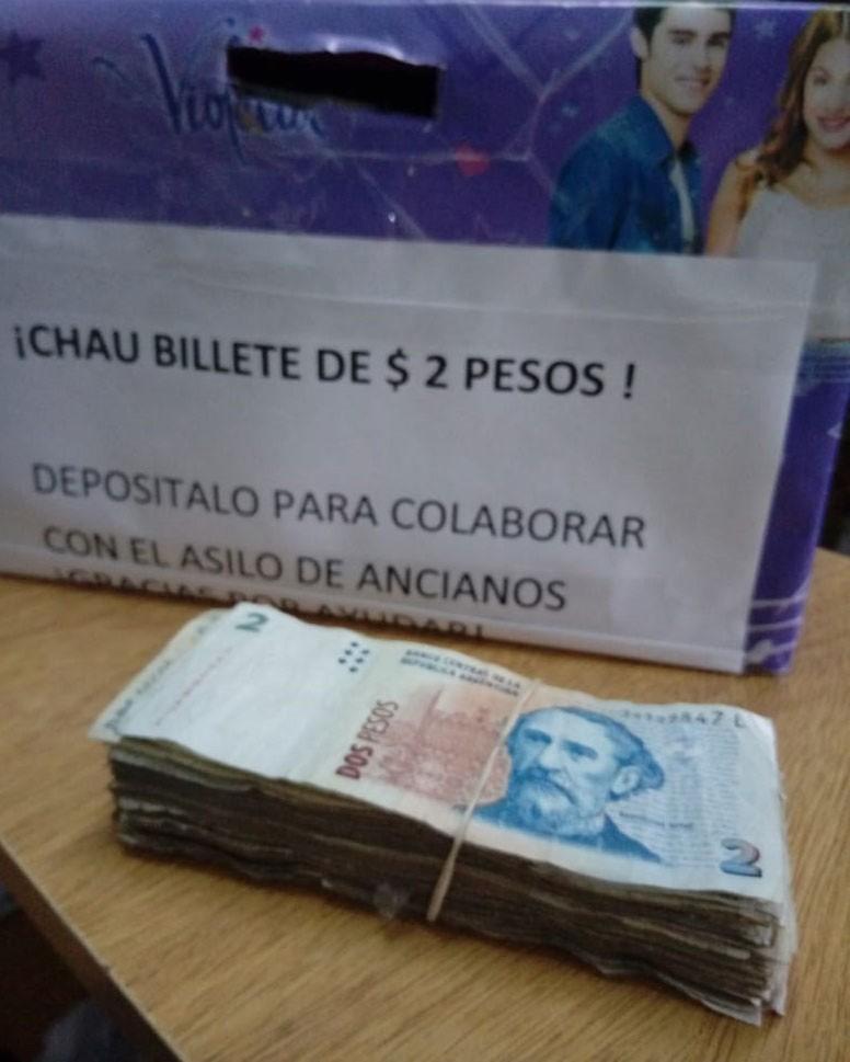 Continua la campaña solidaria 'Chau Billete de $2'