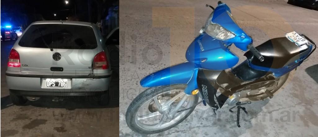 Motociclista derivado al hospital tras chocar con un automóvil