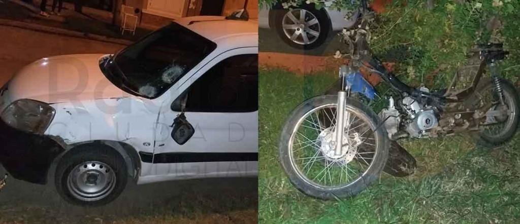 Un joven hospitalizado tras grave accidente entre una moto y un utilitario
