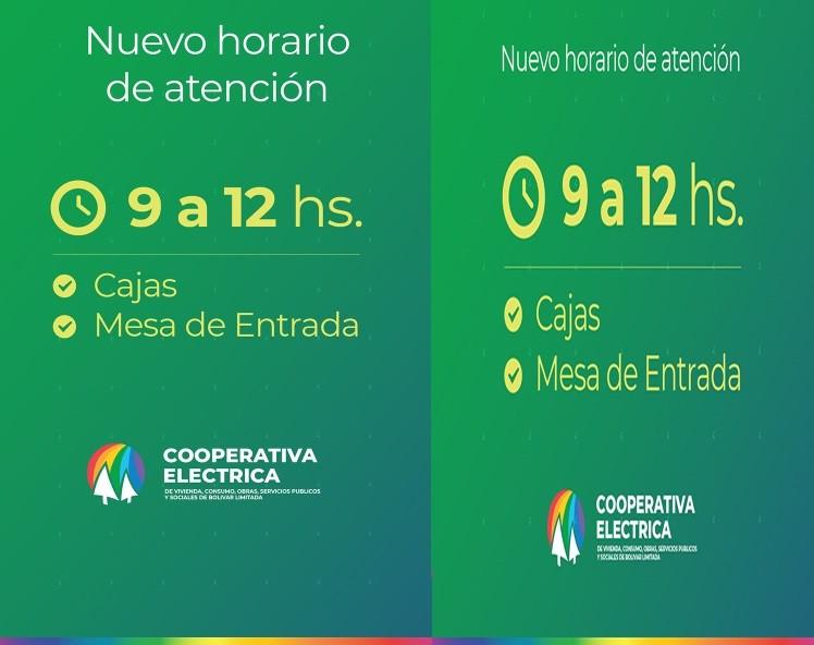 Cambio de horario en Oficinas de la Cooperativa Eléctrica