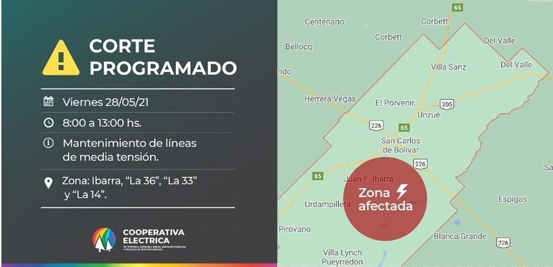 """Corte de energía programado: Será el viernes 28 de mayo de 08:00 a 13:00 hs en la Zona de Ibarra, """"La 36"""", """"La 33"""", y """"La 14"""""""